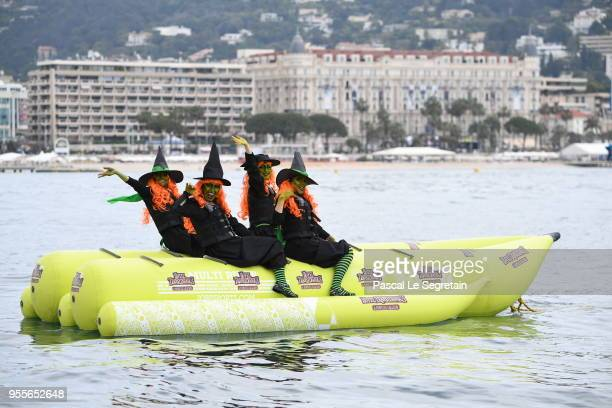 Monster characters cruise into the 71st Cannes Film Festival for a colourful photocall to launch sneak peek of 'Hotel Transylvania 3' on May 7 2018...