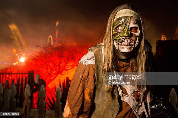 Monster 'Chopper' poses for a portrait during Knotts Scary Farm celebrity VIP opening at Knott's Berry Farm on October 2 2014 in Buena Park California