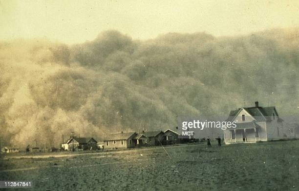 A monster dust storm approaches Stratford Texas on April 18 during the great Dust Bowl tragedy of the 1930s