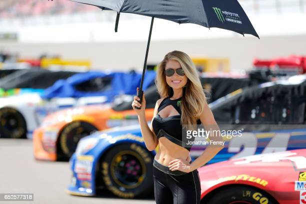 Monster Energy girl stands on the grid prior to the Monster Energy NASCAR Cup Series Kobalt 400 at Las Vegas Motor Speedway on March 12 2017 in Las...