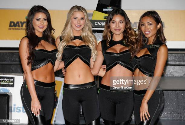 Monster Energy Girls pose in Victory Lane after the Monster Energy NASCAR Cup Series CanAm Duel 2 at Daytona International Speedway on February 23...
