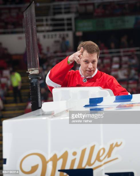 Monster Energy NASCAR Cup Series Champion Brad Keselowski rides on the Zamboni between periods during an NHL game between the Detroit Red Wings and...