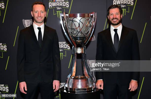 Monster Energy NASCAR Cup Series Champion Martin Truex Jr and his crew chief Cole Pearn pose for a photo opportunity prior to the Monster Energy...