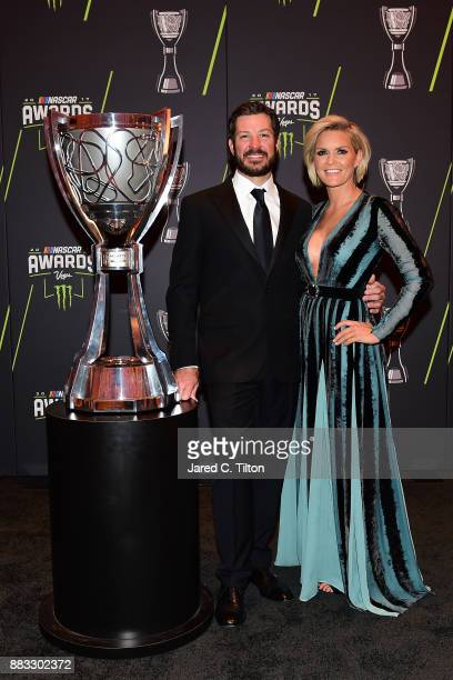 Monster Energy NASCAR Cup Series Champion Martin Truex Jr and his girlfriend Sherry Pollex pose for a photo opportunity prior to the Monster Energy...