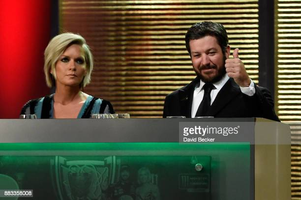 Monster Energy NASCAR Cup Series Champion Martin Truex Jr and his wife Sherry Pollex attend the Monster Energy NASCAR Cup Series awards at Wynn Las...