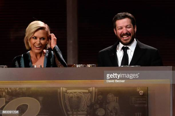 Monster Energy NASCAR Cup Series Champion Martin Truex Jr and Sherry Pollex look on during the Monster Energy NASCAR Cup Series awards at Wynn Las...