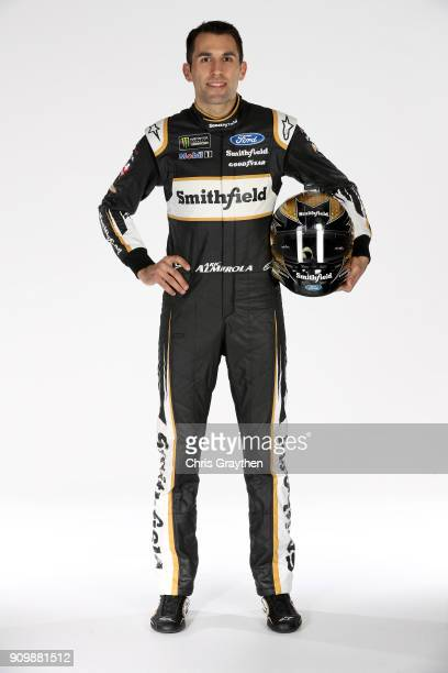 Monster Energy NASCAR Cup series driver Aric Almirola poses for a photo during the NASCAR Media Tour at Charlotte Convention Center on January 23...