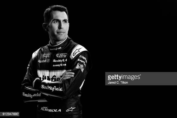 Monster Energy NASCAR Cup Series driver Aric Almirola poses for a portrait during the NASCAR Media Tour at Charlotte Convention Center on January 23...