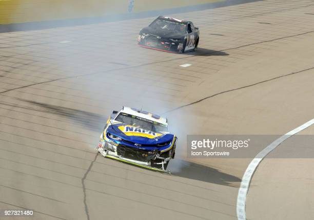 Monster Energy NASCAR Cup Series driver Chase Elliott has front end damage after a crash during Monster Energy NASCAR Cup Series Pennzoil race on...