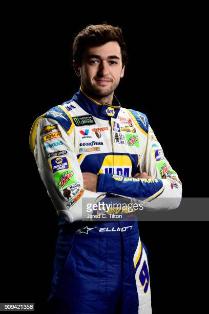 Monster Energy NASCAR Cup Series driver Chase Elliott poses for a portrait during the NASCAR Media Tour at Charlotte Convention Center on January 23...