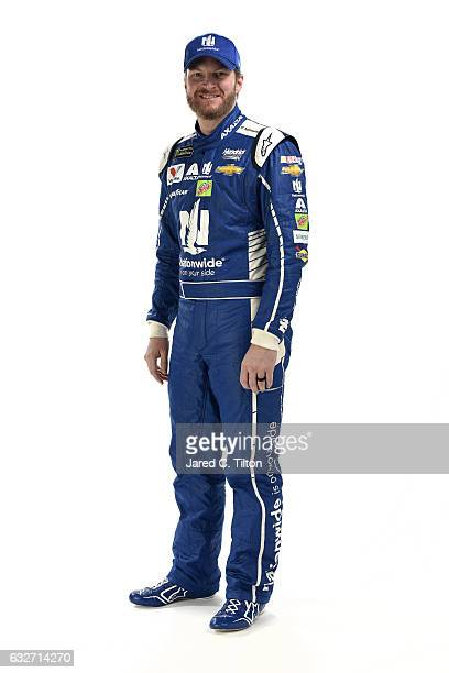 Monster Energy NASCAR Cup Series driver Dale Earnhardt Jr poses for a photo during the NASCAR 2017 Media Tour at the Charlotte Convention Center on...