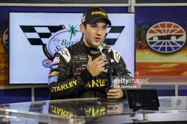 Monster Energy NASCAR Cup Series driver Daniel Suarez answers questions from the media during a press conference before the Monster Energy NASCAR Cup...
