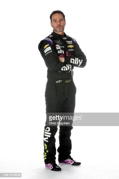 Monster Energy NASCAR Cup Series driver Jimmie Johnson poses for a portrait during the NASCAR Production Photo Days at Charlotte Convention Center on...
