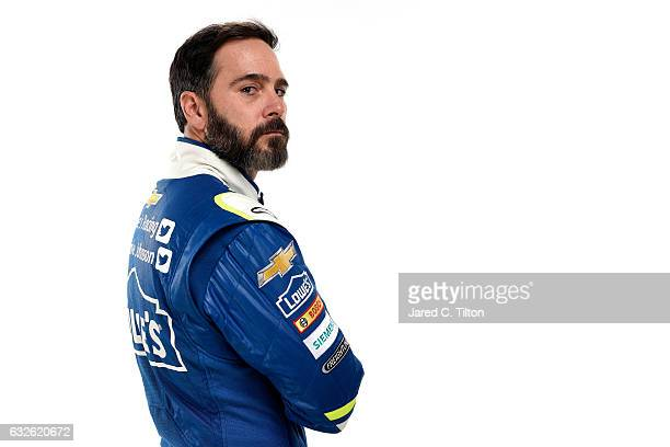 Monster Energy NASCAR Cup Series driver Jimmie Johnson poses for a photo during the NASCAR 2017 Media Tour at the Charlotte Convention Center on...