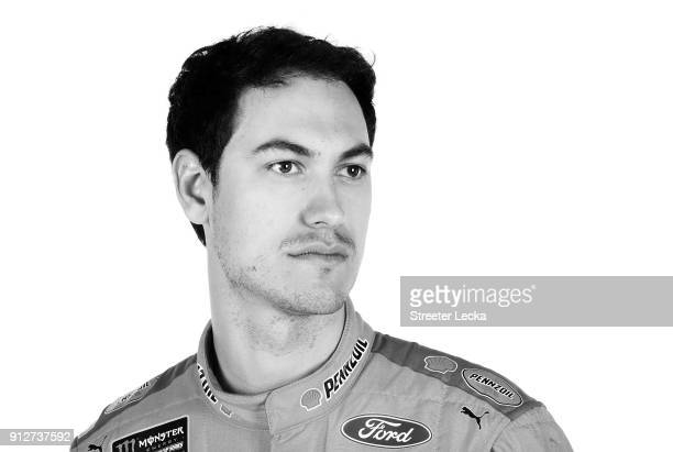 Monster Energy NASCAR Cup Series driver Joey Logano poses for a portrait during the Monster Energy NASCAR Cup Series Media Tour at Charlotte...