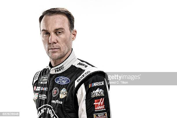 Monster Energy NASCAR Cup Series driver Kevin Harvick poses for a photo during the NASCAR 2017 Media Tour at the Charlotte Convention Center on...