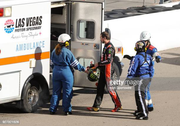 Monster Energy NASCAR Cup Series driver Kurt Busch walks to the ambulance after getting into a crash during Monster Energy NASCAR Cup Series Pennzoil...