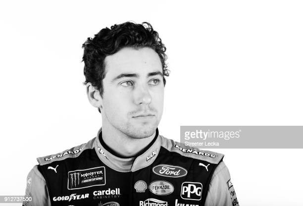 Monster Energy NASCAR Cup Series driver Ryan Blaney poses for a portrait during the Monster Energy NASCAR Cup Series Media Tour at Charlotte...