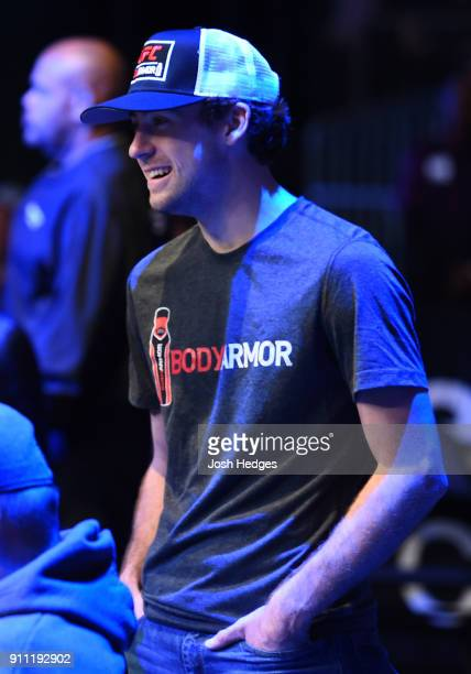 Monster Energy NASCAR Cup Series driver Ryan Blaney watches the fights during a UFC Fight Night event at Spectrum Center on January 27 2018 in...