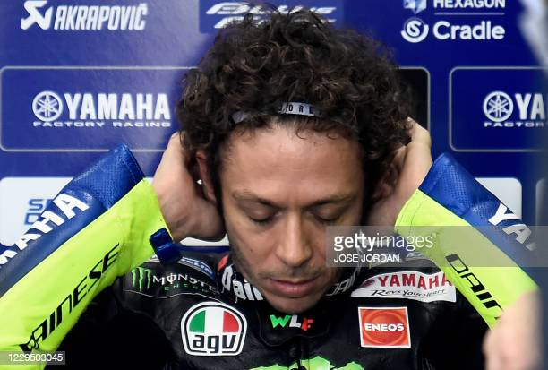 Monster Energy Yamaha MotoGP Italian driver Valentino Rossi is pictured in the box during the third free practice session of the MotoGP race of the...