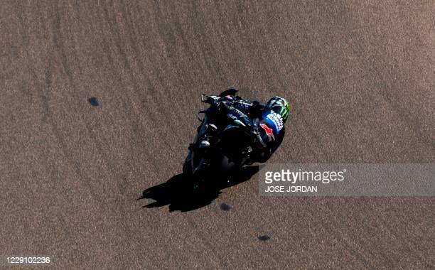 Monster Energy Yamaha MotoGP Spanish driver Maverick Vinales rides during the second MotoGP free practice session of the Moto Grand Prix of Aragon at...