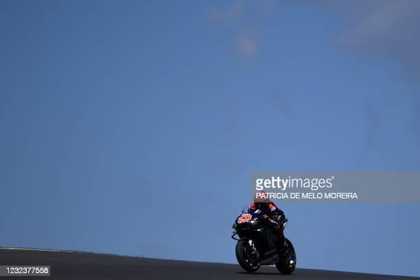 Monster Energy Yamaha MotoGP's French rider Fabio Quartararo competes during the MotoGP race of the Portuguese Grand Prix at the Algarve...