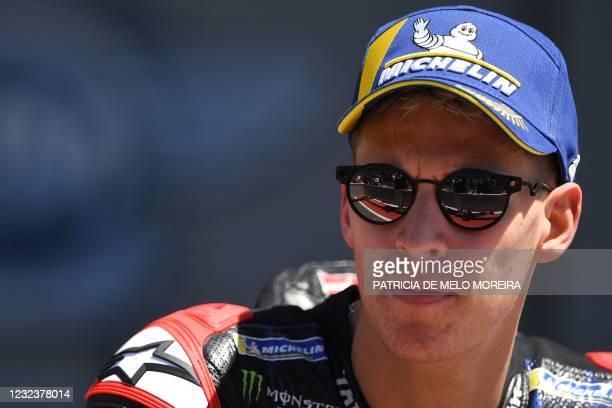 Monster Energy Yamaha MotoGP's French rider Fabio Quartararo waits for the podium ceremony after winning the MotoGP race of the Portuguese Grand Prix...