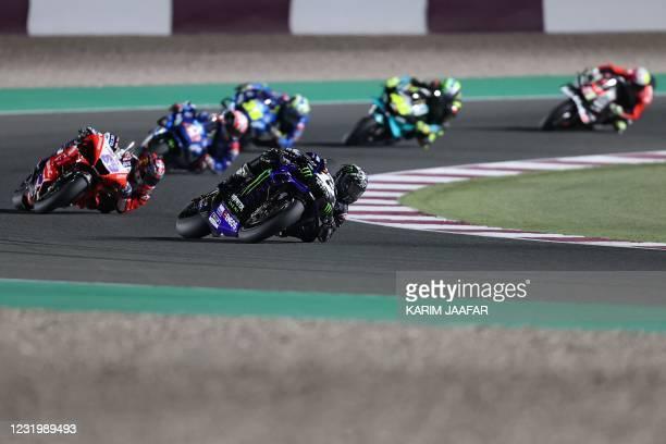 Monster Energy Yamaha MotoGP's Spanish rider Maverick Vinales drives during the Moto GP Qatar Grand Prix at the Losail International Circuit, in the...