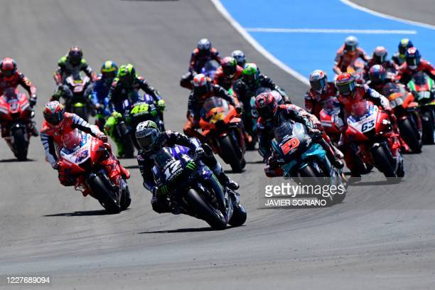 Monster Energy Yamaha' Spanish rider Maverick Vinales leads at the start of the MotoGP race of the Spanish Grand Prix at the Jerez racetrack in Jerez...