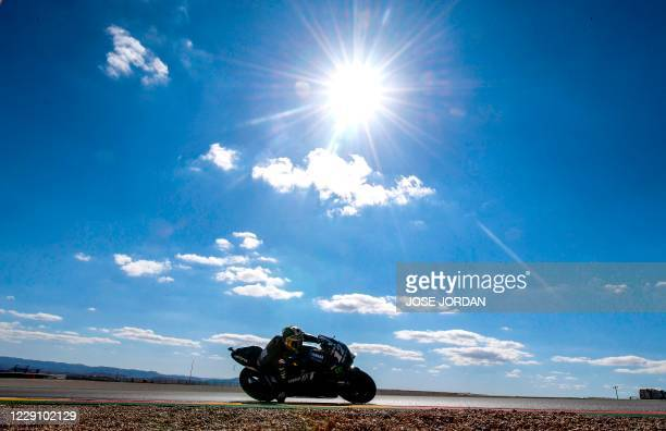Monster Energy Yamaha' Spanish rider Maverick Vinales rides during the second MotoGP free practice session of the Moto Grand Prix of Aragon at the...
