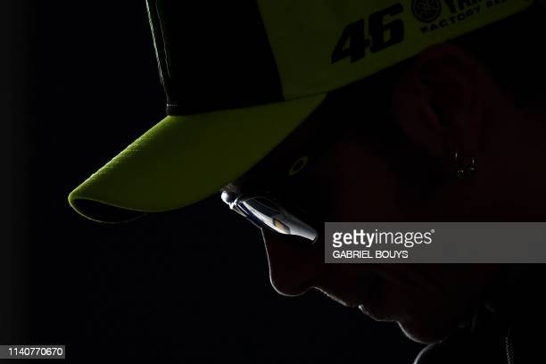 Monster Energy Yamaha's Italian rider Valentino Rossi attends a press conference at the Jerez-Angel Nieto Circuit in Jerez de la Frontera on May 2,...