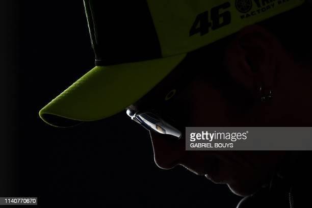 TOPSHOT Monster Energy Yamaha's Italian rider Valentino Rossi attends a press conference at the JerezAngel Nieto Circuit in Jerez de la Frontera on...