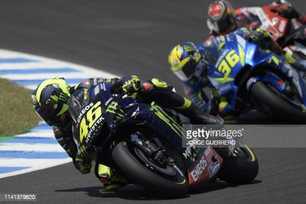 Monster Energy Yamaha's Italian rider Valentino Rossi competes during the MotoGP race of the Spanish Grand Prix at the Jerez Angel Nieto circuit in...