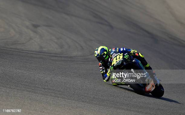 Monster Energy Yamaha's Italian rider Valentino Rossi rides during the MotoGP first free practice of the Aragon Grand Prix at the Motorland racetrack...