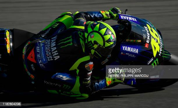 Monster Energy Yamaha's Italian rider Valentino Rossi rides during the fourth free practice session of the MotoGP Valencia Grand Prix at the Ricardo...