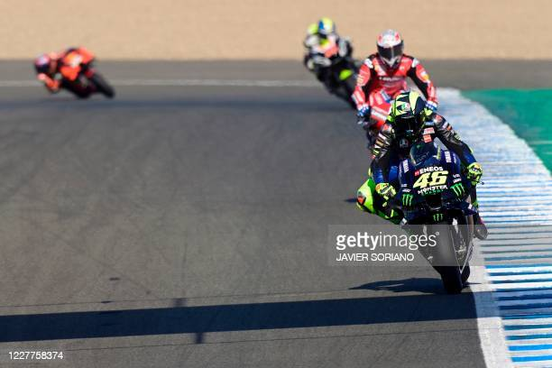Monster Energy Yamaha's Italian rider Valentino Rossi rides during the first MotoGP free practice session of the Andalucia Grand Prix at the Jerez...