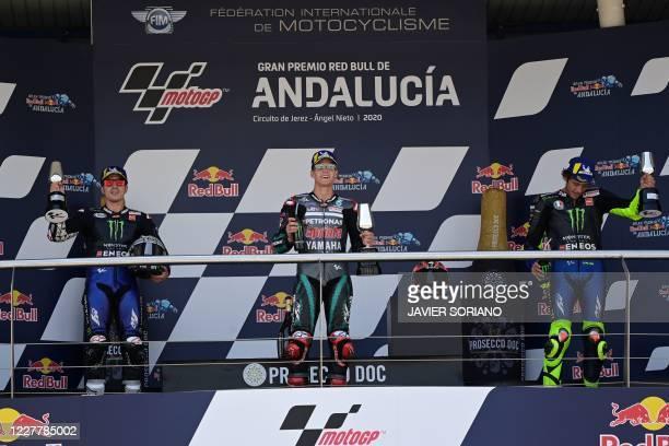 Monster Energy Yamaha's second-placed Spanish rider Maverick Vinales, Petronas Yamaha SRT's French winner Fabio Quartararo and Monster Energy...