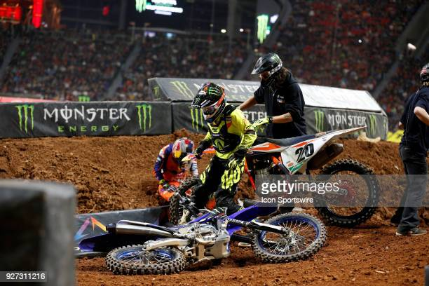 Monster Energy/Knich/Factory Yamaha 450cc rider Cooper Webb and Red Bull KTM 450cc rider Broc Tickle wreck in a corner of the Monster Energy AMA...