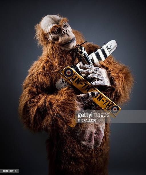 monster gorilla and planes - monkey suit stock pictures, royalty-free photos & images