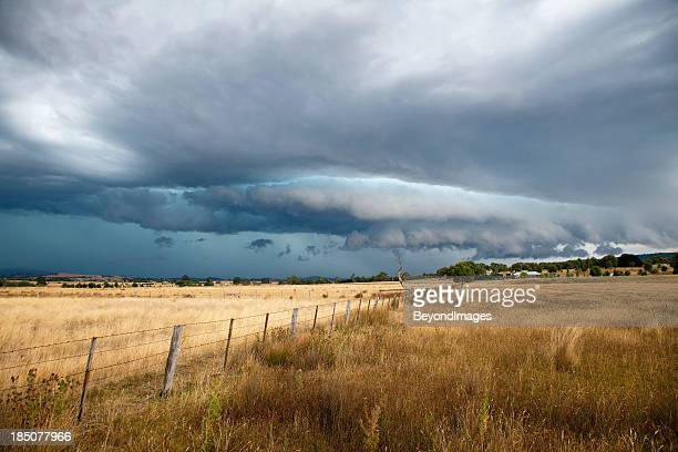 monster hail storm over farmland - torrential rain stock pictures, royalty-free photos & images
