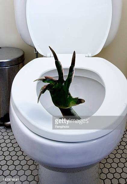 モンスターハンドシリーズ:トイレ - scary monster ストックフォトと画像