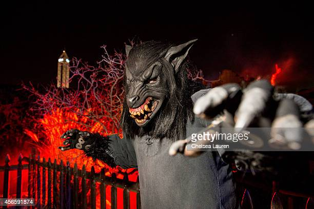 Monster 'Lucifer' poses for a portrait during Knotts Scary Farm celebrity VIP opening at Knott's Berry Farm on October 2 2014 in Buena Park California