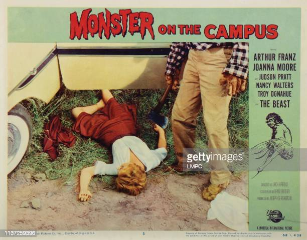 Monster On The Campus lobbycard from left Joanna Moore Arthur Franz 1958