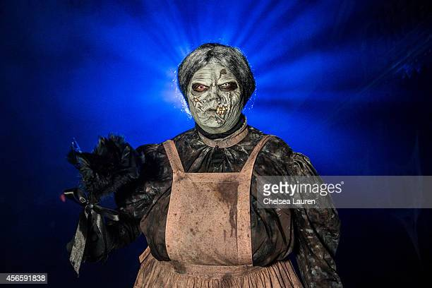 A monster poses for a portrait during Knotts Scary Farm celebrity VIP opening at Knott's Berry Farm on October 2 2014 in Buena Park California