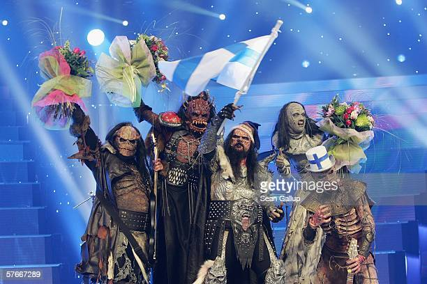 Monster rock band Lordi of Finland celebrate their victory at the conclusion of the finals of the 2006 Eurovision Song Contest May 20, 2006 in...