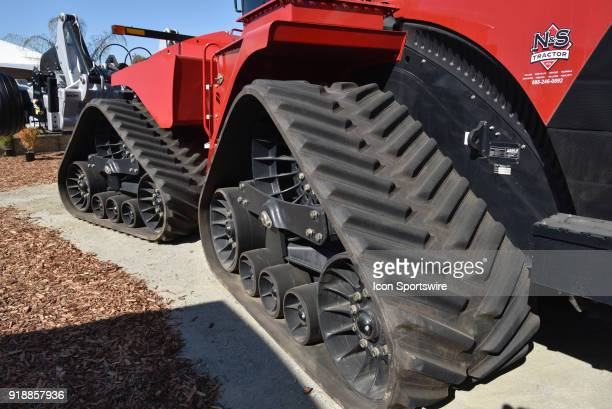 Monster rubber tracks provide plenty of traction for both front and back of tractor which is on display during the 51st World Ag Expo on February 13...