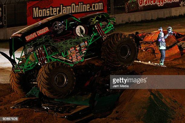 Monster truck Grave Digger after winning the freestyle competition of the Monster Jam Exhibition Tour at Autodromo Hermanos Rodriguez on November 7...