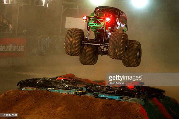 Monster truck Grave Digger during a freestyle competition of the Monster Jam Exhibition Tour at Autodromo Hermanos Rodriguez on November 7 2009 in...