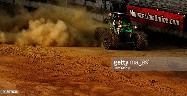Monster truck Grave Digger during a freestyle competition of the Monster Jam Exhibition Tour at Autodromo Hermanos Rodriguez on November 7, 2009 in...