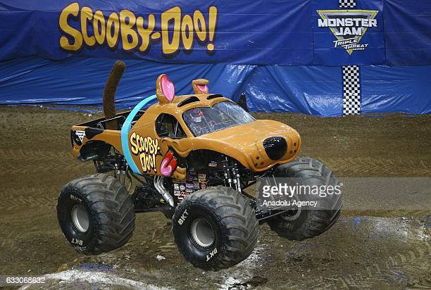 Monster truck performs during Monster Jam Show at Prudential Center in New Jersey in United States on January 30, 2017.
